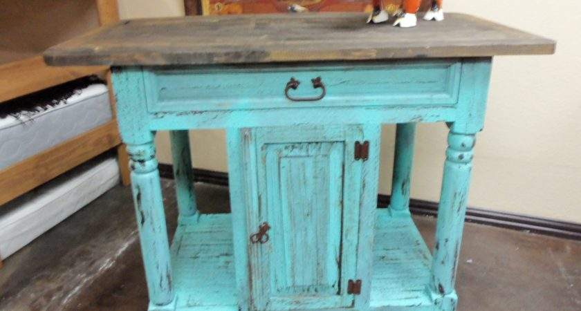 Turquoise Rustic Kitchen Island Rick Home Store