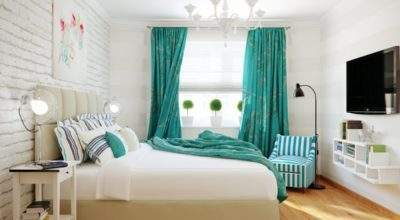 Turquoise White Stripe Bedroom Interior Design Ideas