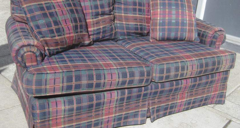 Uhuru Furniture Collectibles Sold Plaid Sofa