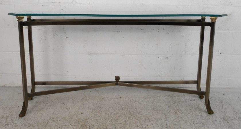 Unique Mid Century Style Brass Beveled Glass Console