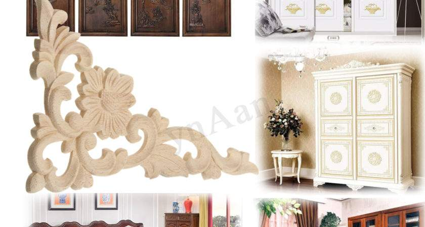 Unpainted Carved Corner Onlay Applique Carving Furniture