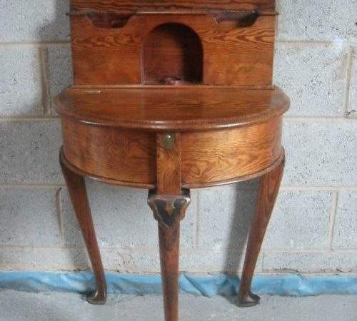 Unusual Victorian Pitch Pine Bow Front Demilune Hall Table