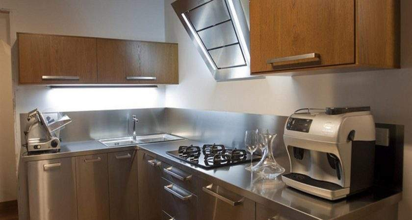 Upper Cabinets Without Doors Stainless Steel Kitchen