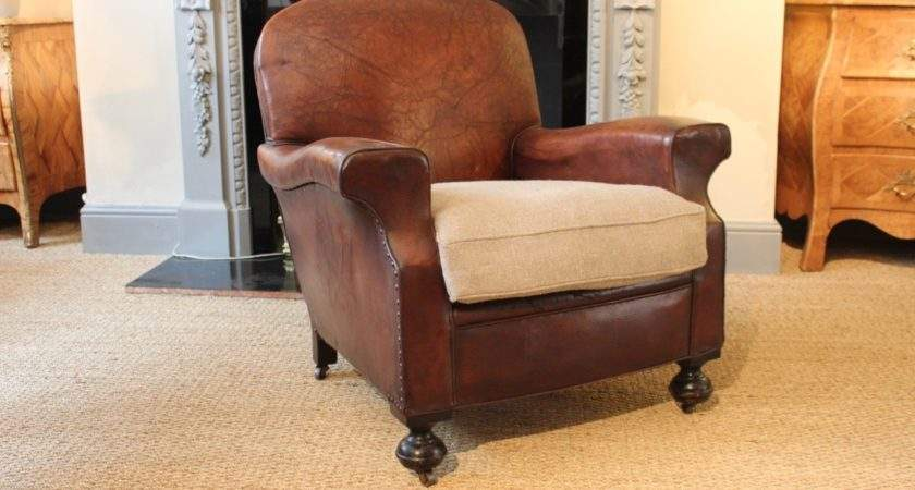 Very Comfortable Pair English Leather Armchairs