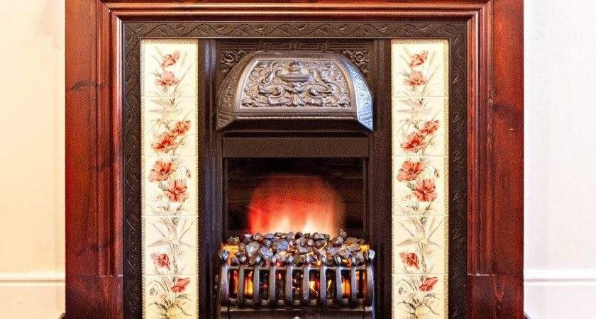 Victorian Style Fireplace Wooden Mantelpiece Tiled