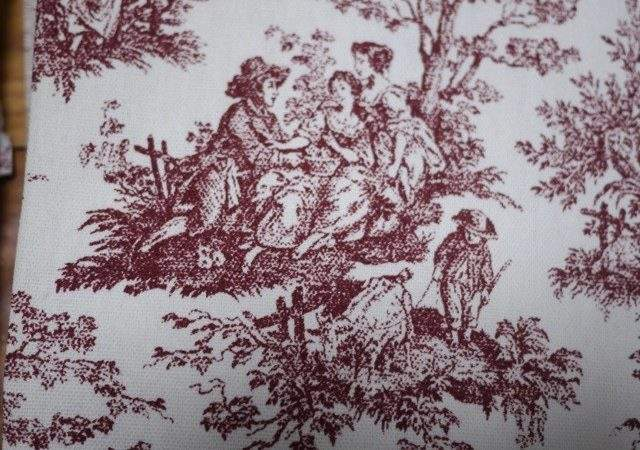 Vintage Burgundy White Cotton Canvas Toile Fabric French
