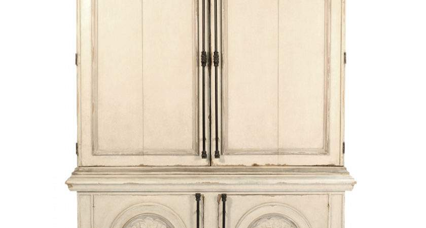 Vintage Cream Shabby Chic Armoire Carved Front