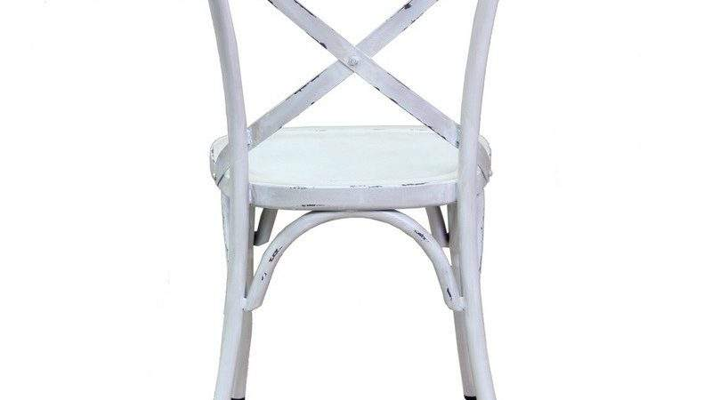 Vintage Cross Back Chair Antique White Bay