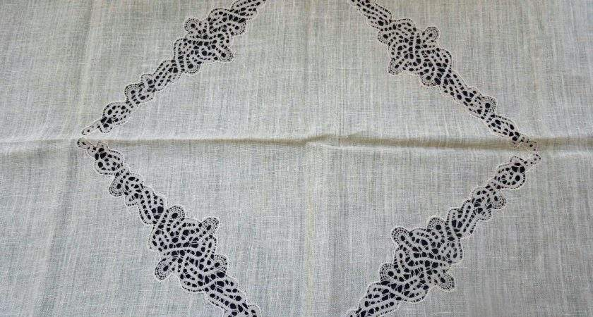 Vintage Damask Pure Irish Linen Pink Tablecloth