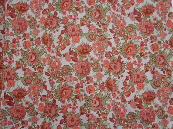 Vintage Fabric Country Cottage Coral Floral