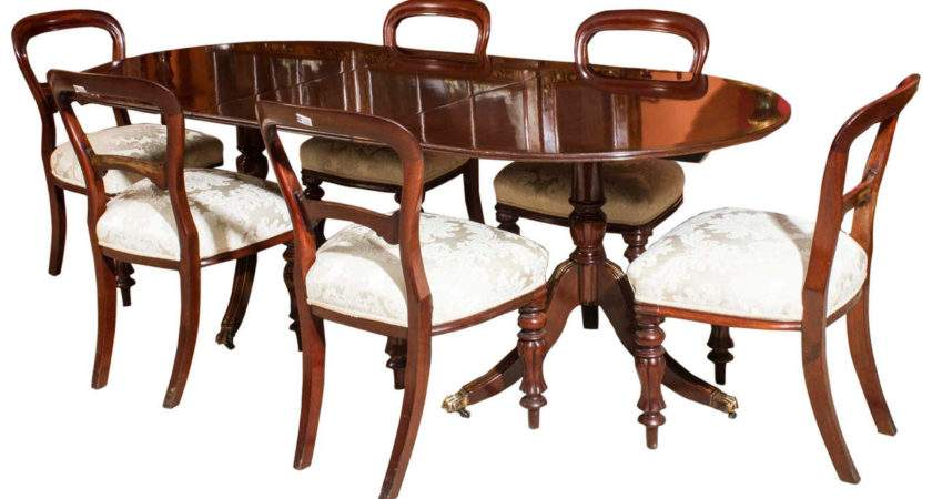 Vintage Regency Style Dining Table Six Antique Chairs