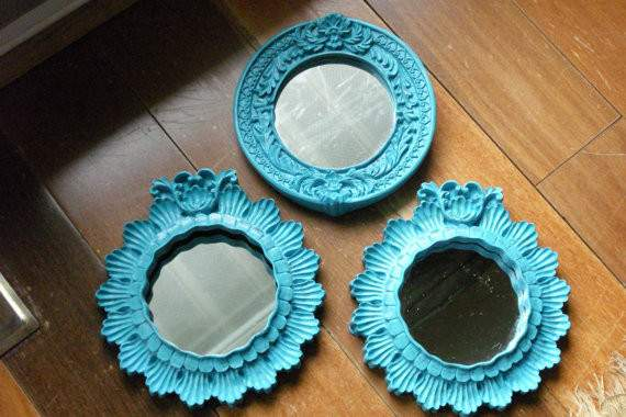 Vintage Resin Mirrored Frames Eclectic Wall Mirrors