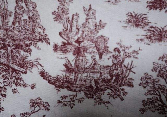 Vtg Burgundy White Cotton Canvas Toile Fabric French