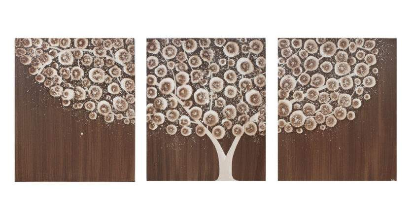 Wall Art Canvas Tree Painting Acrylic Neutral Brown