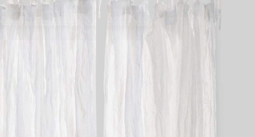 White Crinkle Sheer Voile Cotton Curtains Set