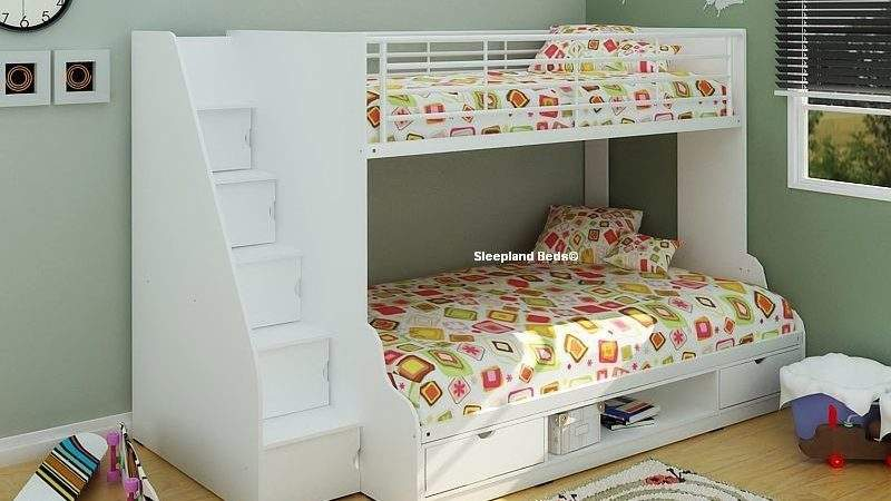 White Double Bunk Bed Storage Stairs New