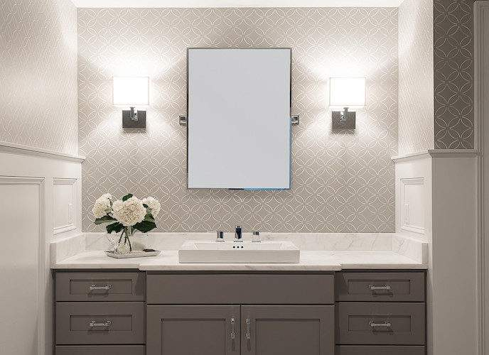 White Grey Bathroom Transitional Cory
