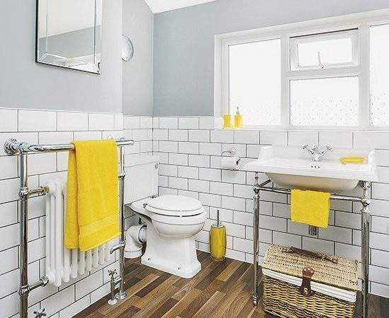 White Grey Bathroom Yellow Accents Faux Wood