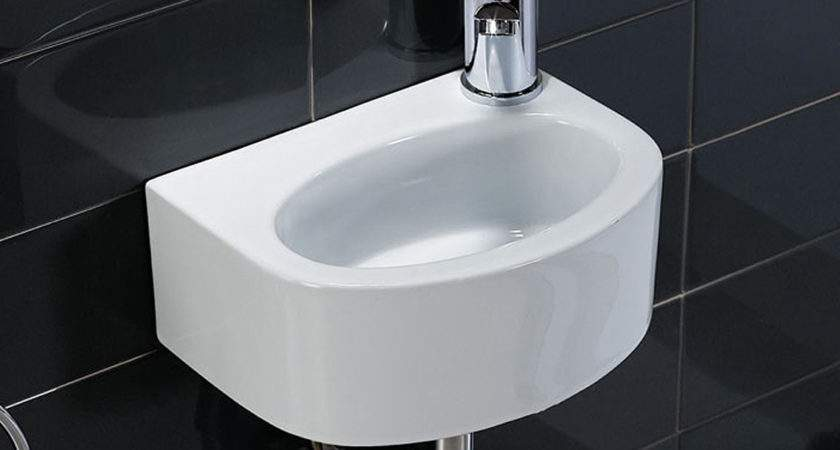 White High Gloss Small Cloakroom Wall Mounted Wash Basin