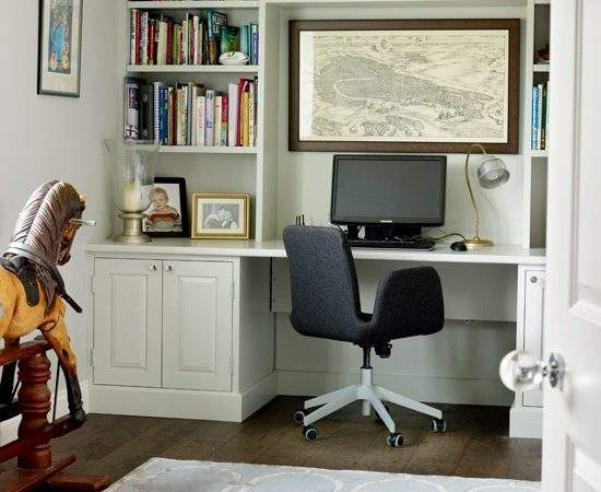 White Home Office Fitted Shelves