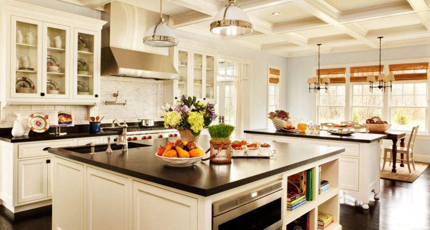 White Kitchen Island Designs Ideas Black Countertop