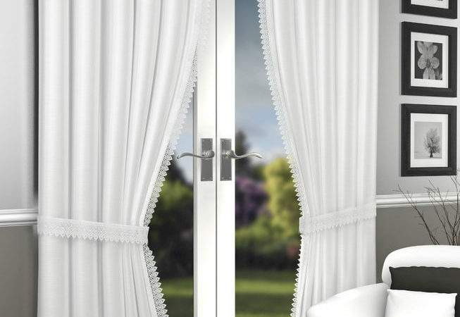 White Lined Crushed Voile Curtains Ebay