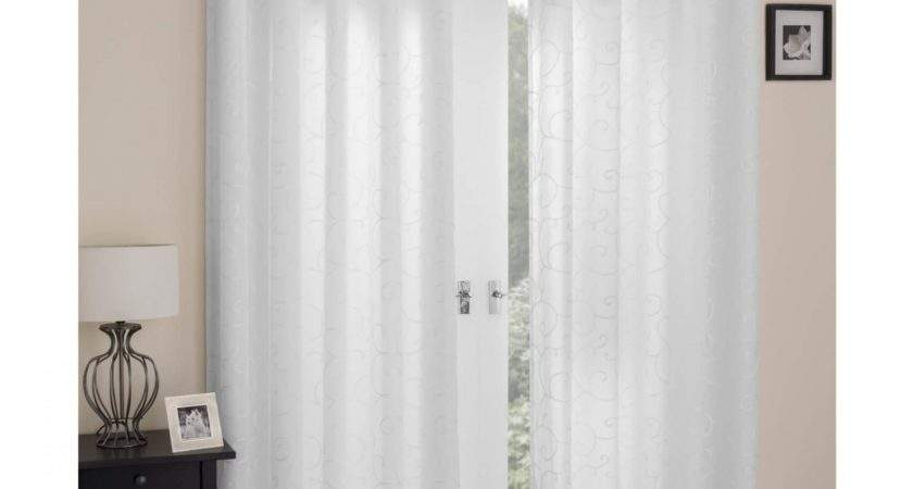 White Lined Eyelet Voile Curtains Curtain Menzilperde