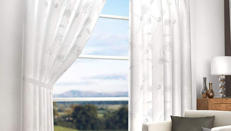 White Lined Voile Embroidered Curtains Pencil Pleat Monet