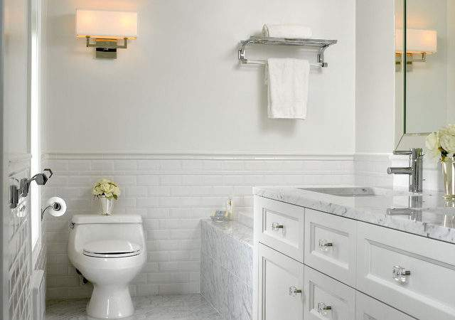 White Marble Bathroom Traditional Other