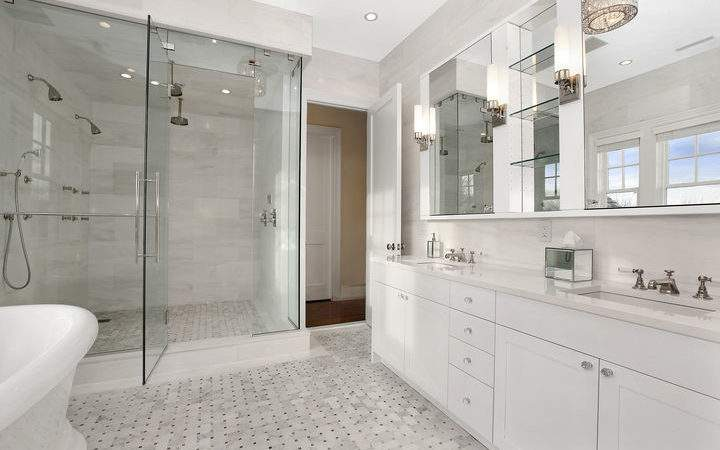 White Marble Bathroom Transitional Carole