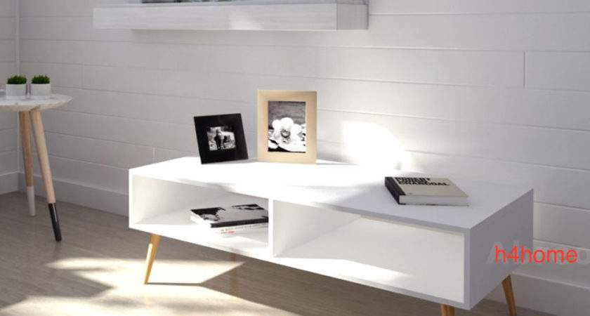 White Retro Coffee Table Scandinavian Stand Vintage