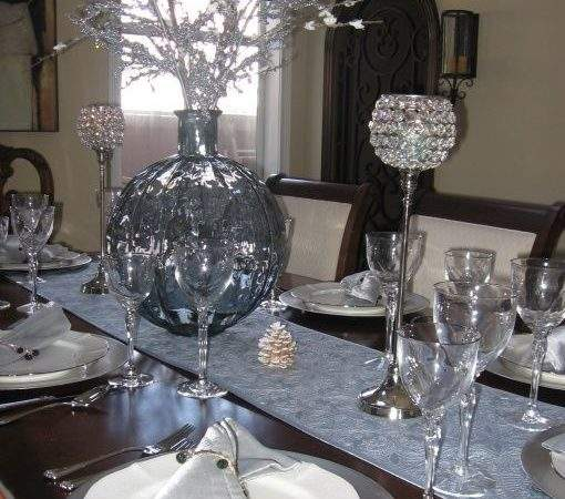 White Silver Table Settings