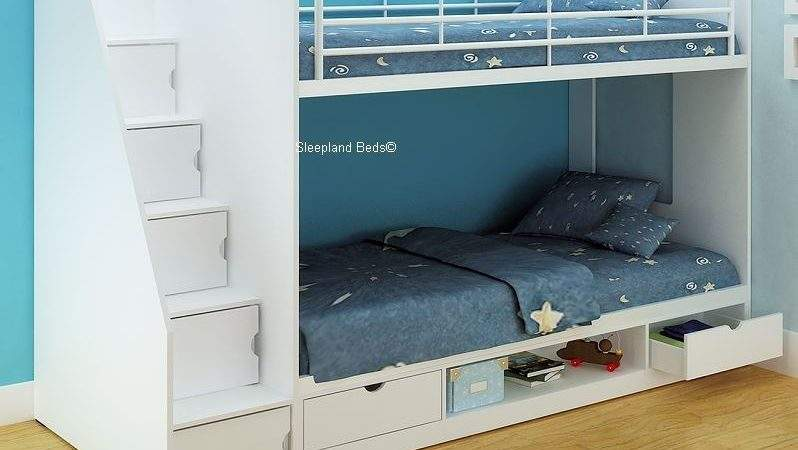 White Storage Bunk Beds Cameo Deluxe Staircase Bed
