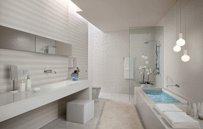 White Stripe Bathroom Tiles Interior Design Ideas