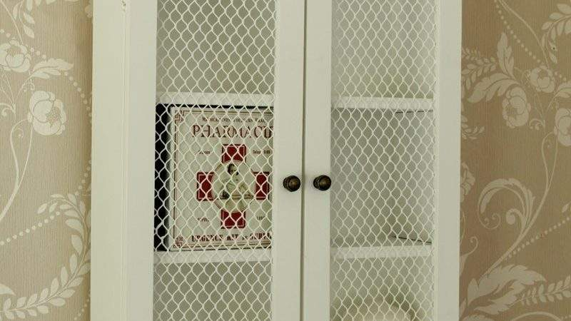 White Wood Mesh Door Kitchen Bathroom Cupboard Cabinet