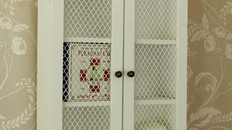 White Wooden Mesh Wall Cabinet Shabby Vintage Style Home