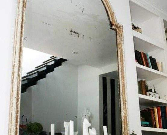 Whitewashed Mirror Eclectic Living Room