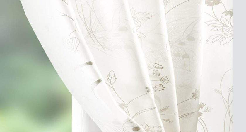 Wild Flower Voile Curtain Panel Cream Delivery