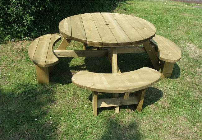 Winchester Treated Seater Round Picnic Table Bench