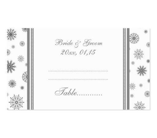 Winter Wedding Table Place Setting Cards Grey Business