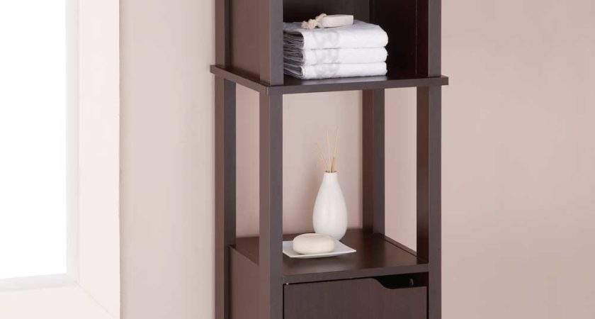 Wood Cabinet High Bathroom Shelves
