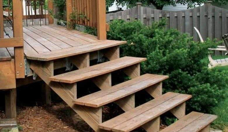 Wooden Deck Stair Without Handrails Ways Build