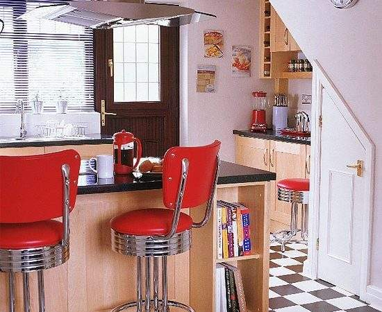 Wooden Kitchen Fifties Style Stools Housetohome