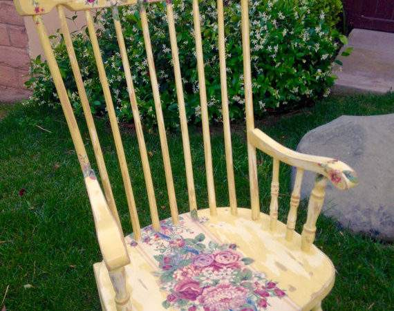 Wooden Rocking Chair Shabby Chic