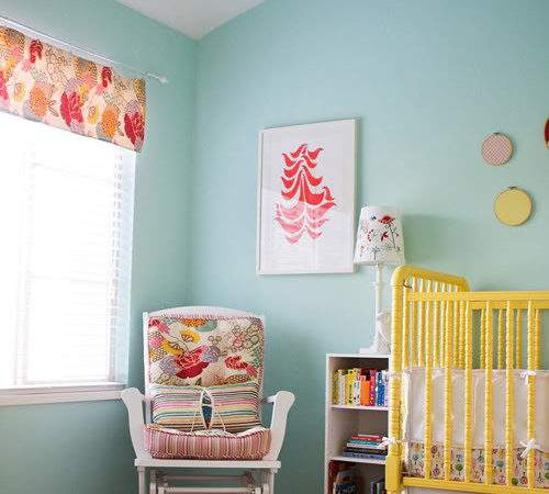 Yellow Aqua Red Baby Nursery Design Dazzle