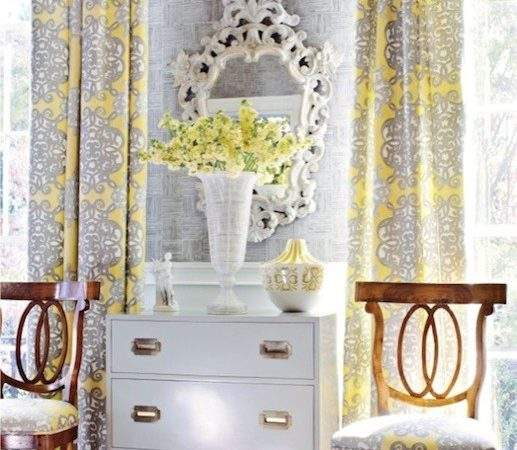 Yellow Gray Curtains French Living Room Thibaut