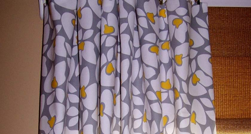Yellow Gray Floral Fabric Curtain White Ring Top