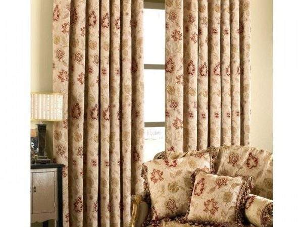 Zurich Champagne Chenille Eyelet Curtains Ready Made